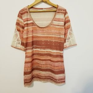 Maurices crochet sleeve top scoop striped shirt